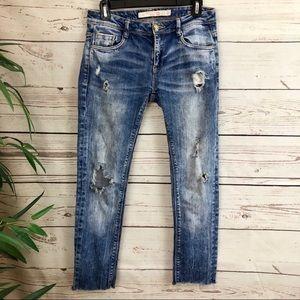Zara Distressed Stonewashed Cut Off Crop Jeans